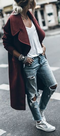Distressed jeans + always a winner + burgundy number + white tee + distressed denim jeans + Jacqueline Mikuta + casual but edgy style + we love. Coat: Designers Remix, Shoes: Vans, Jeans