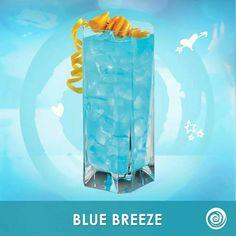 Blue Breeze: 2 oz. Hpnotiq 1oz. Premium Coconut Rum Splash of Pineapple Juice
