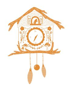 Digital illustration of a Cuckoo Clock. 8x10 by PairOfPorters