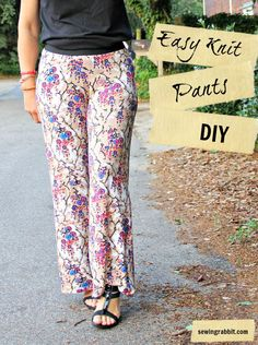 Easy Knit Pants DIY  These look very comfortable.  And the length can be long enough!