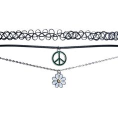 Shalom  Flower Child Mood Choker Trio (750 RUB) ❤ liked on Polyvore featuring jewelry, necklaces, accessories, chokers, black and wet seal