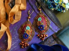 florita - vintage mexican embroidery earrings