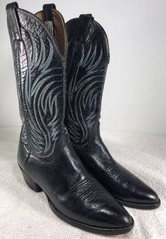baaa4c407ef9 Nocona Black Leather Blue Stitched Mid Calf Cowboy Western Boots Mens 9 D
