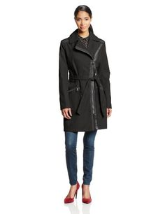 Via Spiga Women's Asymmetrical Zip Belted Trench Coat with Faux Leather Trim, Black, Small *** Read more reviews of the product by visiting the link on the image.