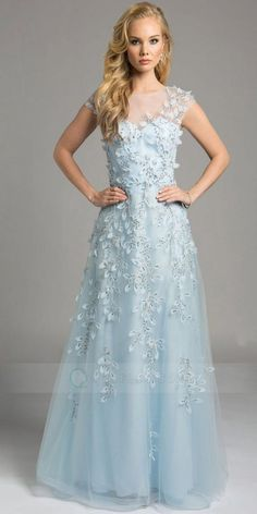 A-Line Sweep Train Cap Sleeve Beaded Appliqued Tulle Prom Dress