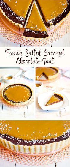 French Slated Caramel Chocolate Tart Recipe #christmastreats #thanksgiving #christmasdesserts #dessert | The Hungry Traveler