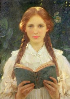 labellefilleart:  Girl with Pigtails, Samuel Henry William Llewelyn