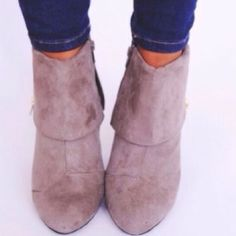 Pink & Pepper Taupe Ankle Boots Bought these from a local boutique but only wore them once. The pictures are from the boutique and the boots are identical to the ones I purchased except mine  have a taupe colored zipper instead of gold. Last picture is mine. Shoes Ankle Boots & Booties