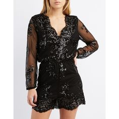 Charlotte Russe Sequin & Mesh V-Neck Romper (28 AUD) ❤ liked on Polyvore featuring jumpsuits, rompers, black, v neck romper, party rompers, playsuit romper, charlotte russe rompers and charlotte russe romper
