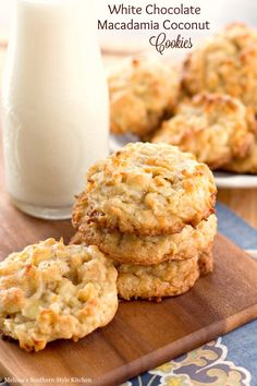These delicious golden cookies are chocked full of white chocolate chips, macadamia nuts and coconut. The island flavors will blow you away with one bite. Crispy around the edges and filled with sweet goodness they won't last long in your cookie jar. Macadamia Nut Cookies, Chocolate Macadamia Nuts, White Chocolate Chip Cookies, Macadamia Nut Recipes, Chocolate Candies, Coconut Chocolate, Chocolate Ganache, Just Desserts, Delicious Desserts