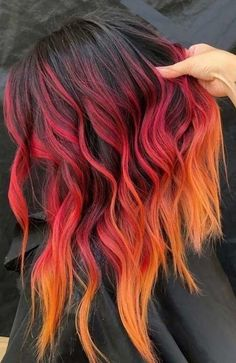 20 Orange Hair Color Trend Is Taking to the Next Level, Orange hair, couldn't care less! You're going to hop into the hair shading profound end with these stunning design hues. In case you're thin…, Beauty Cute Hair Colors, Hair Dye Colors, Hair Color Blue, Cool Hair Color, Fire Hair Color, Fire Ombre Hair, Ombre Color, Pink Purple Blue Hair, Pink And Orange Hair