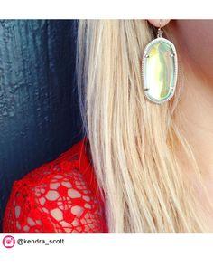 Danielle Earrings in Clear Iridescent - Kendra Scott Jewelry Gold Statement Earrings, Drop Earrings, Kendra Scott Jewelry, Accessories Shop, Iridescent, Gemstone Rings, Gemstones, My Style, Glitters
