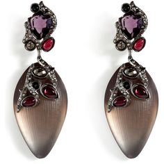 ALEXIS BITTAR Faded Sepia Allegory Clustered Earrings Tonal silver, lilac and cranberry crystals with sepia-toned stone. Material: Lucite/Metall/Crystal.  245 ❤ liked on Polyvore