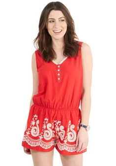 State of Fairs Romper. When your fun radar reads festival time, fit yourself into this bright red romper and skip to the center of the celebration. #red #modcloth