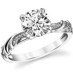 Round Moissanite Floral Accent Engagement Ring 1ct center = $775