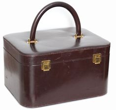 83c1f4edc0269 Details about Rare Hermes Box Leather Train Case Vanity with Mirror Travel  Carry On Bag 1950s