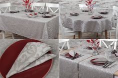 Patterned linen table collection: tablecloth, table runner and table napkins. With silver shimmer.