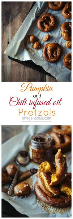Easy Vegan Pumpkin and Chili oil infused Pretzels - easy, vegan, spicy and delicious pretzels, perfect for cozy fall weekends or any time of the year. Great snack or accompaniment to dinner or BBQ | Imagelicious