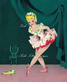 Vintage 1950s Ballerina Taking A Stage Bow by poshtottydesignz