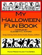 """My Halloween Fun Book Complete Edition Includes all thirty-six songs from the """"My Halloween Fun Book Series"""" by award-winning children's songwriters. The piano sheet music arrangements are progressively graded in order of difficulty. Song lyrics and guitar chords are included. There are loads of reproducible coloring pages, poems, short stories, puzzles, recipes, and safety tips to help you enjoy your Halloween!"""