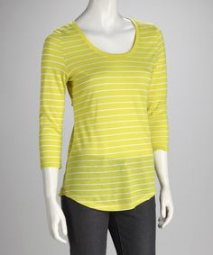 Take a look at this Love By Design Electric Lime Stripe Hi-Low Top on zulily today!