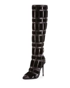 """TOM FORD knee boot in woven calf leather and suede. 4.2"""" covered heel with gunmetal tip. Pointed toe. Side zip eases dress. Contours line of leg. Smooth outsole. Made in Italy."""