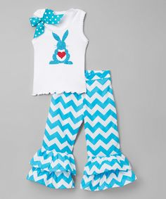 Another great find on #zulily! White Bunny Tank & Turquoise Pants - Infant, Toddler & Girls by So Girly & Twirly #zulilyfinds