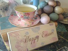 Pretty tea cups for Easter.