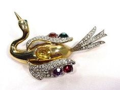 Huge Vintage 1940s Unsigned Master Piece Swan Pin 3D Colorful Rhinestones Xlnt