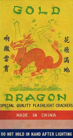 Gold Dragon C1 firecracker brick label by Mr Brick Label