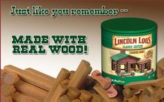 Lincoln Logs' owner says it would like to reshore production of its tiny logs to the U., if it can find a domestic supplier. The logs are produced in China for toy maker K'Nex, famed for insourcing its other toy lines. Woodworking Industry, Woodworking News, Lincoln Logs, American Manufacturing, Cool Mom Picks, I Remember When, Made In America, Real Wood, Best Mom