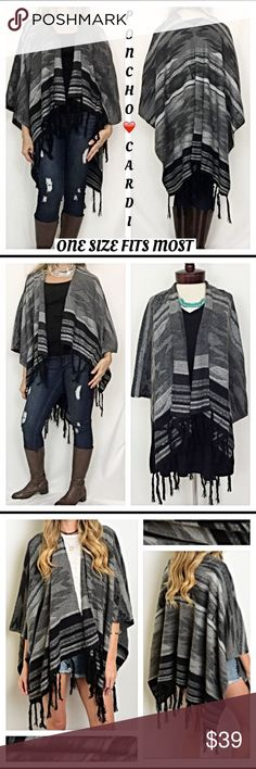 "Tribal Tassel Sleeveless Poncho Wrap Scarf Great GiftEvery stylish woman needs a go-to sweater to wrap up in & stay cozy warm this season!  How I love this sleeveless poncho Cardi cape/wrap in a gorgeous triba print in shades of gray, black & Ivory.  Nice quality sweater material 60% cotton 40% acrylic with tassel trim. One size fits most XS to 3X  Measurements laying flat: Width 44"" Length 27"" Tassels add 6"" Sweaters Shrugs & Ponchos"