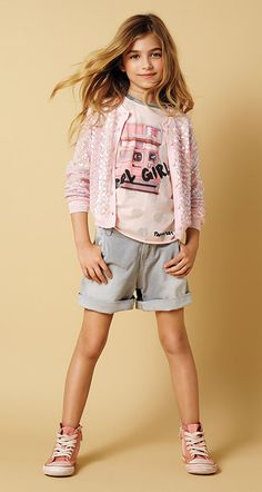 Sequin Top, Polka Dot T-Shirt, Denim Shorts, and Embroidered Shoes Teen Girl Fashion, Teen Girl Outfits, Young Fashion, Little Girl Fashion, Kids Outfits, Kids Fashion, Cute Outfits, Fashion Outfits, Fashion Trends
