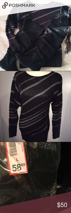 Black Sweater Nwt. Excellent condition. Silver stripes throughout sweater.  93% acrylic 7% polyester. Fast shipping. No trades. Thank you for shopping and supporting my closet! XO XO Sweaters