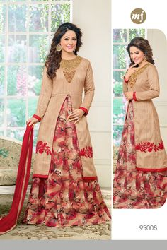 Stylish Wedding Wear Cream Red Indo Western Style Suit With Work 95008
