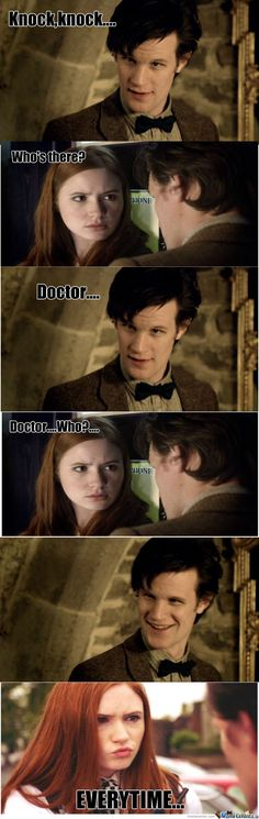 Knock knock, who's there, doctor, doctor who, win.