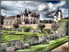 Chenonceau in the Loire Valley--quite obviously one of the chateaux on which George Vanderbilt based his home in Western North Carolina, Biltmore Estate.