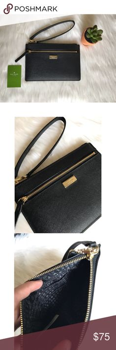 """NWT Kate Spade Black Wristlet Pictured above is a NWT Kate Spade New York Saffiano Leather Wristlet with gold toned hardware. It has a top zip closure as well as 1 front zip pocket. Wristlet strap is detachable. Interior features custom Kate Spade fabric with 4 card slots. Dimensions are as following: 7.5"""" L x 5"""" H x 0.5"""" W  No trades. Offers welcomed using the offer button. Will not discuss prices in the comments. Any other questions please comment below kate spade Bags Clutches & Wristlets"""