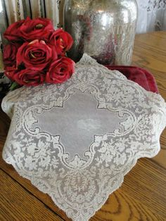 French Alencon Lace Bridal Handkerchief Vintageblessings