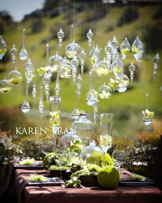 Hanging vases creates an ethereal whimsical effect...ceremony backdrop