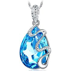 "Pauline & Morgen ""Venice Dream"" Blue SWAROVSKI ELEMENTS Crystal White Gold Plated Women Necklace - The Ultimate Shopping Portal"