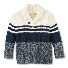 Infant Toddler Boys' Striped Pullover Cable Sweater - Shell