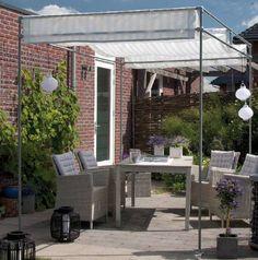 Schaduwvoorziening voor terras en tuin, maak dit frame van steigerbuizen.