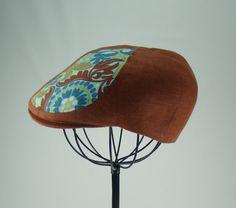 Custom 6 Panel Handmade Copper Linen Flat Cap Driving by Sookie, $78.00