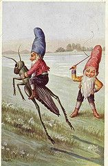 "vintageillustration: "" c.öhler (by janwillemsen) "" Another example of a unique, whimsical vintage illustration from the Victorian era. This gnome riding a grasshopper would make a lovely greeting. Woodland Creatures, Magical Creatures, Fairy Land, Fairy Tales, Merian, Old Postcards, Goblin, Illustration Art, Vintage Illustrations"