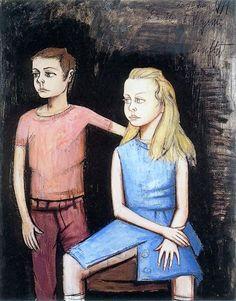 Danièle et Virginie Buffet, portrait of his children- 1971 Bernard Buffet ( 1928 - 1999 ) - French painter.