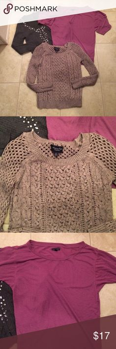 $12 aeo top lot sweater, cardigan and flown top All in great to like new condition! All size xs. American Eagle Outfitters Sweaters Cardigans