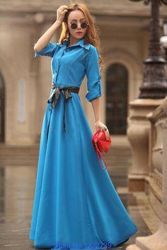 2014 verão outono new europeia OL vestido longo sleever vestido tornozelo longo para mulher de cor azul em Vestidos de Roupas & acessórios no AliExpress.com | Alibaba Group