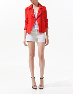 LINEN DOUBLE BREASTED JACKET WITH STUDDED LAPELS - Zara
