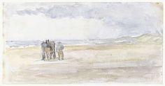 Man met paard en wagen op het strand, Jozef Isra�ls, 1834 - 1911
